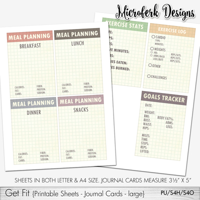 Get Fit Printable Sheets Journal Cards - large