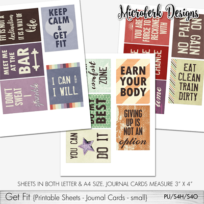 Get Fit Printable Sheets Journal Cards - small