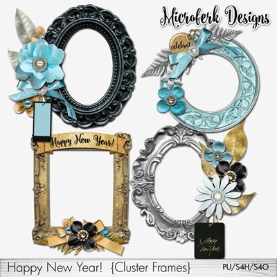 Happy New Year Clustered Frames