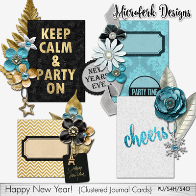 Happy New Year Clustered Journal Cards