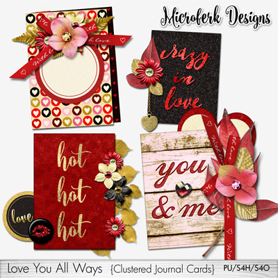 Love You All Ways Clustered Journal Cards