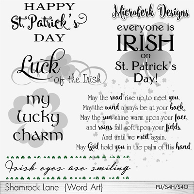 Shamrock Lane Word Art
